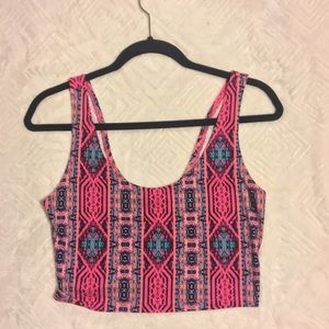 Pink tribal crop top